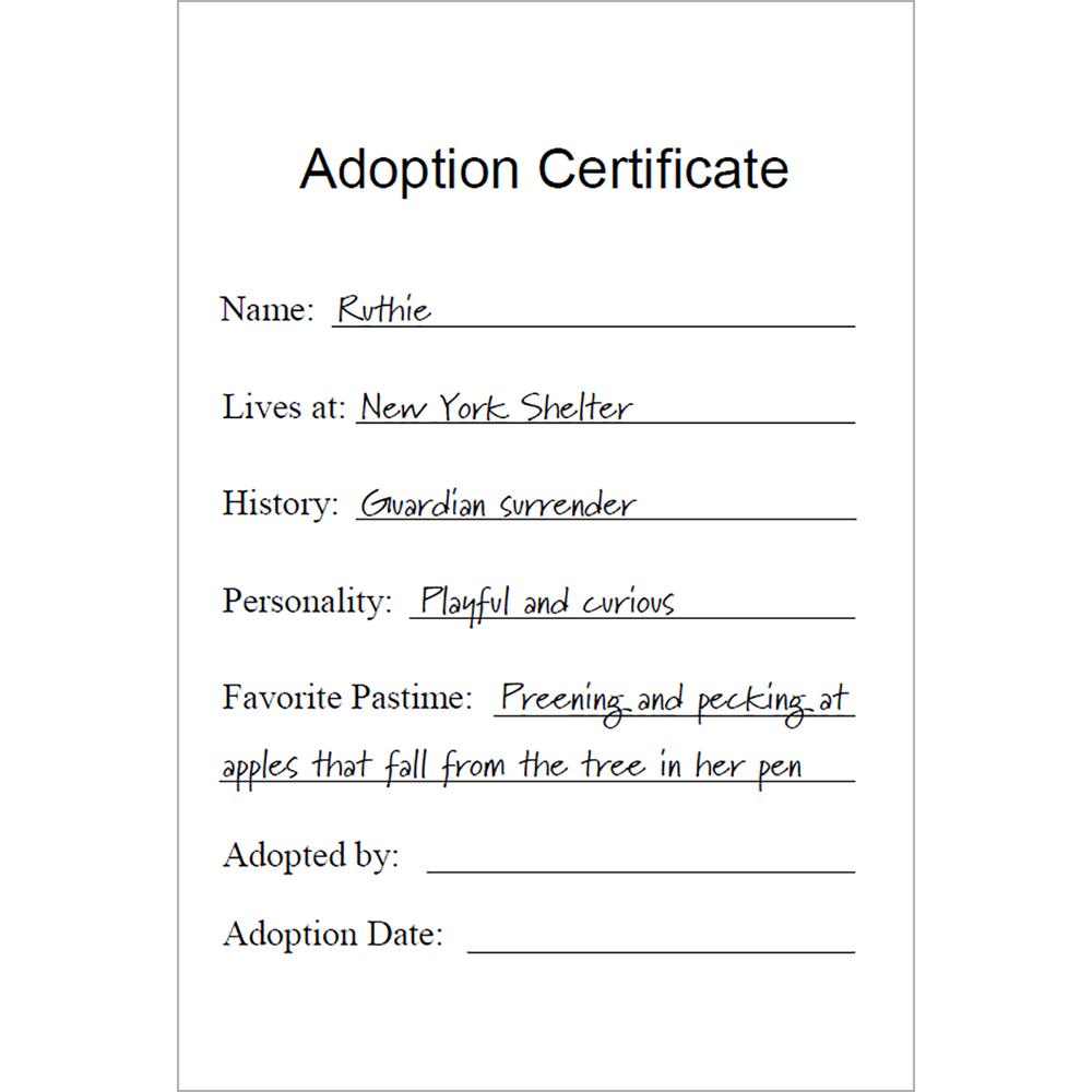 Adopt Ruthie the Turkey