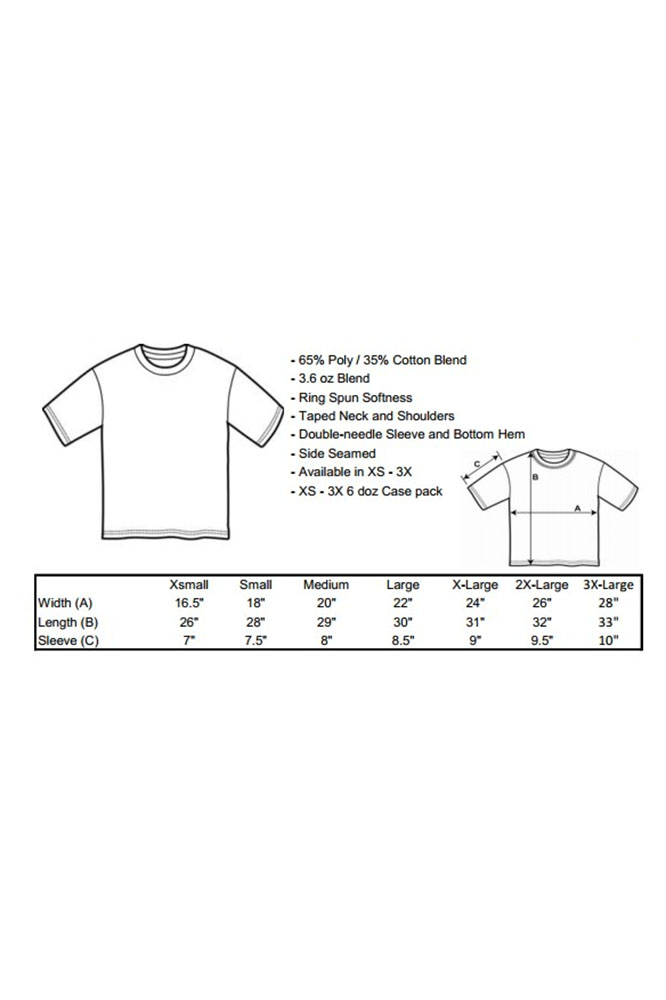 Unisex Infant TMF Logo Tee - Made in USA Size Chart
