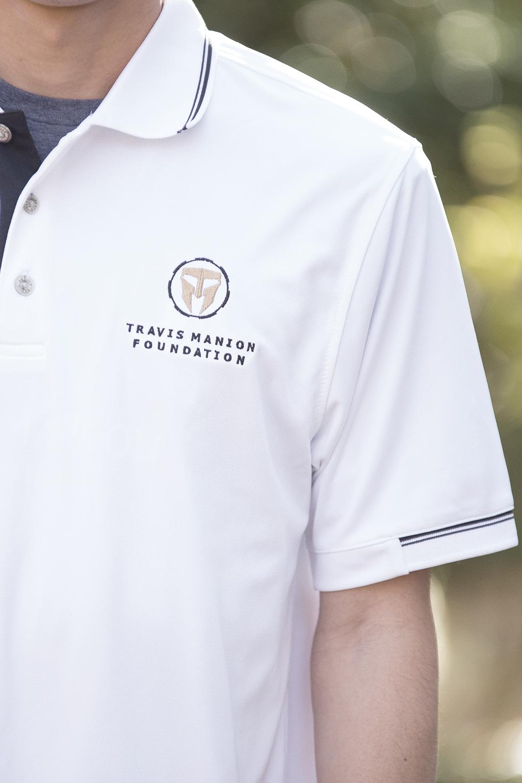 Men's White TMF Logo Polo