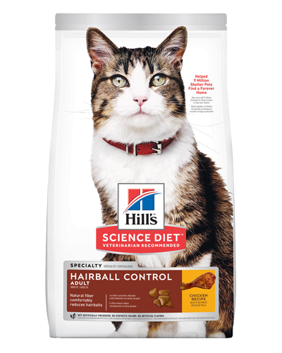 Picture of Hill's Science Diet Adult Hairball Control Chicken Recipe Dry Cat Food - 7 lbs.