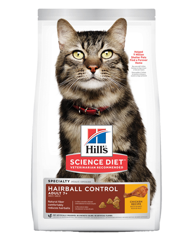 Picture of Hill's Science Diet Adult 7+ Hairball Control Chicken Recipe Dry Cat Food - 15.5 lbs.