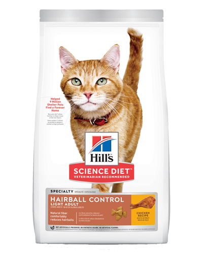Picture of Hill's Science Diet Adult Hairball Control Light Chicken Recipe Dry Cat Food - 15.5 lbs.