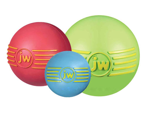"""Picture of JW iSqueak Rubber Ball - 4"""" Assorted Colors"""