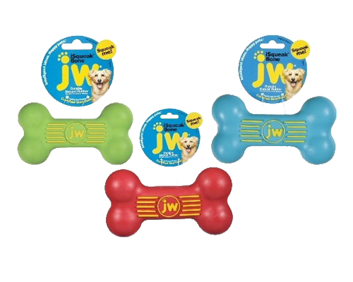 """Picture of JW iSqueak Rubber Bone Small - 4.75"""" Assorted Colors"""