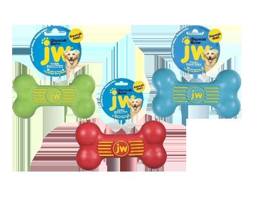 """Picture of JW iSqueak Rubber Bone Medium - 5.5"""" Assorted Colors"""