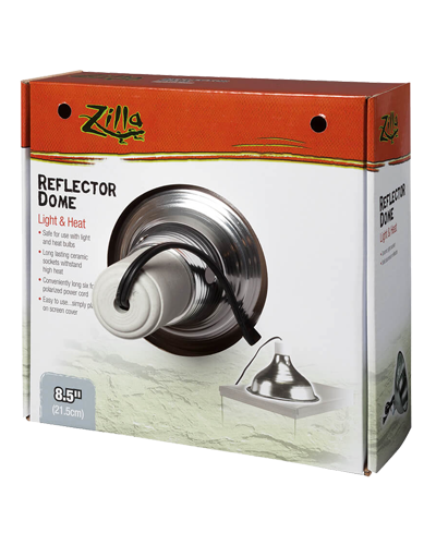 """Picture of Zilla Silver Reflector Dome Light & Heat Incandescent Fixture - 8.5"""""""