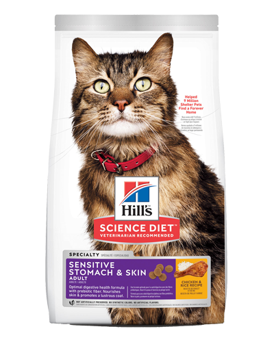 Picture of Hill's Science Diet Adult Sensitive Stomach & Skin Chicken & Rice Recipe Dry Cat Food - 15.5 lbs.