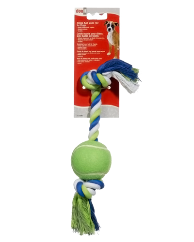 "Picture of DogIt 12"" Striped Ropebone with Tennis Ball"