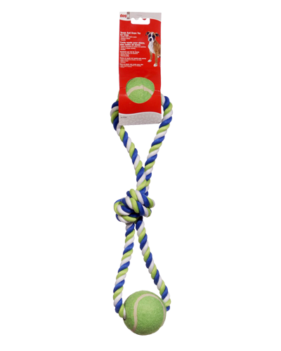 Picture of DogIt Striped Cotton Loop Tug with 2 Tennis Balls - 18""