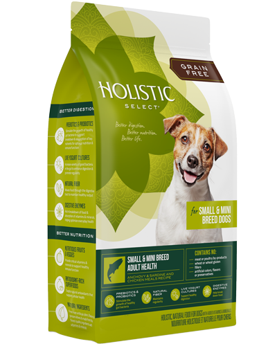 Picture of Holistic Select Grain Free Small and Mini Breed Adult Health Recipe with Anchovy, Sardine, and Chicken Meal - 4 lb.
