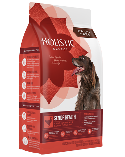 Picture of Holistic Select Grain Free Senior Health Chicken Meal and Lentils Recipe - 12 lb.