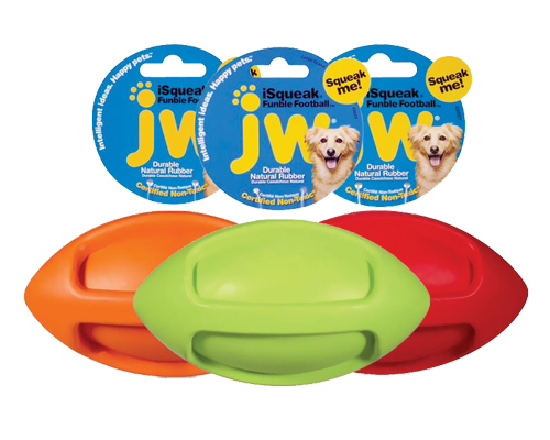 """Picture of JW iSqueak Funble Football Large - 9"""" Assorted Colors"""
