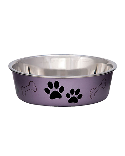 Picture of Loving Pets Metallic Bella Bowl Medium - Grape