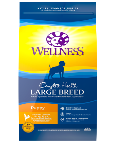 Picture of Wellness Complete Health Large Breed Puppy Recipe with Chicken & Brown Rice - 30 lbs.