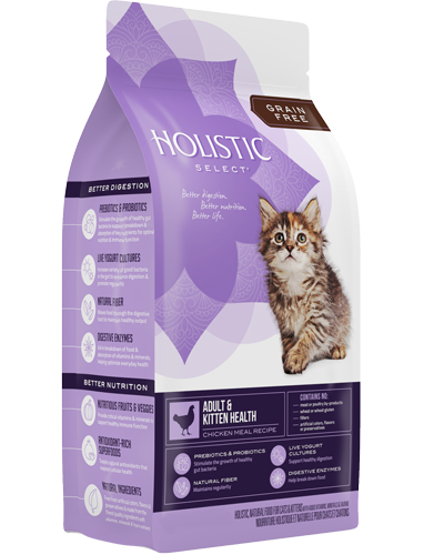 Picture of Holistic Select Grain Free Adult and Kitten Health Chicken Meal Recipe - 11.5 lb.