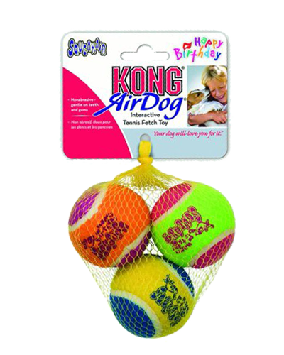 Picture of KONG Medium Birthday Air Squeaker Balls - 3 Pack Assorted Colors