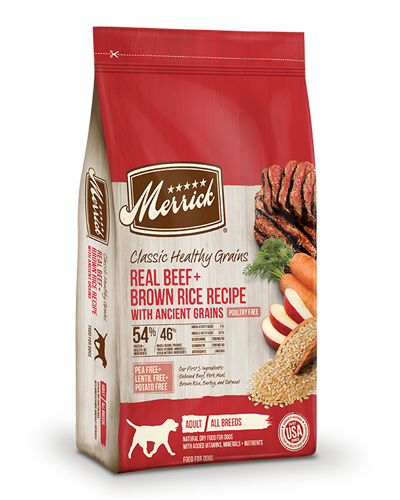 Picture of Merrick Classic Healthy Grains Real Beef + Brown Rice with Ancient Grains - 4 lbs.