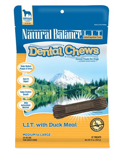 Picture of Natural Balance Dental Chews Grain Free Limited Ingredient Treats with Duck Meal for Medium to Large Dogs of 25-50 lbs. - 13 oz.