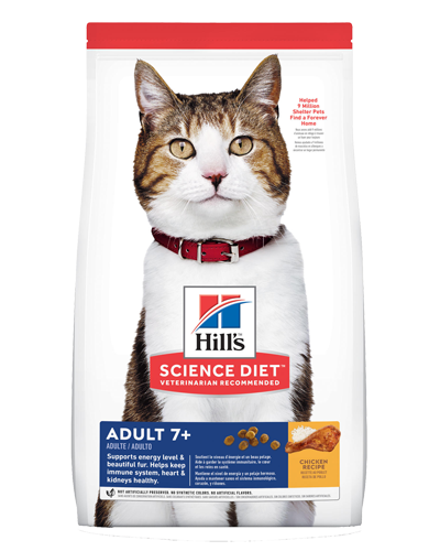 Picture of Hill's Science Diet Adult 11+ Chicken Recipe Dry Cat Food - 15.5 lbs.