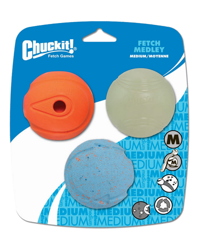 Picture of ChuckIt! Ball Fetch Medley 3 Pack Medium - Assorted Colors