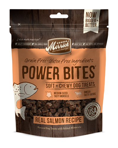 Picture of Merrick Power Bites Grain Free Real Salmon Recipe Soft + Chewy Treats - 6 oz.