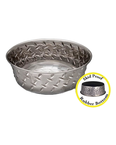Picture of Loving Pets Diamond Plated Bowl with Non Skid Bottom 3 Quart