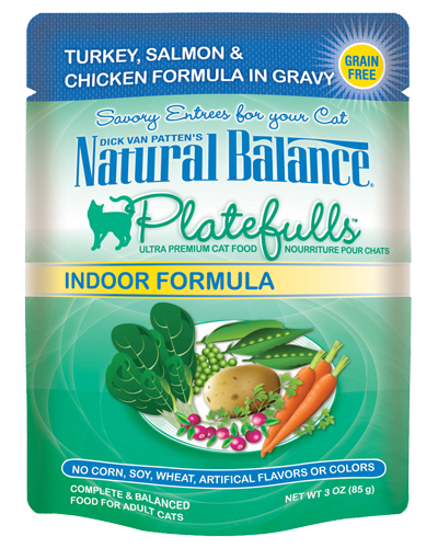 Picture of Natural Balance Platefulls Grain Free Indoor Turkey, Salmon, and Chicken Formula in Gravy - 3 oz.