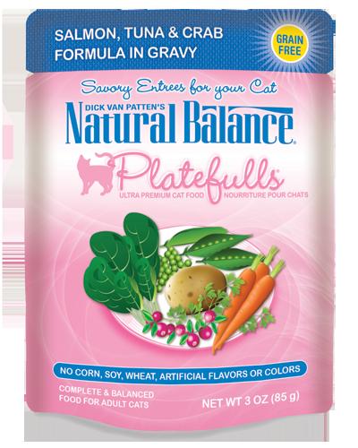 Picture of Natural Balance Platefulls Grain Free Salmon, Tuna, and Crab Formula in Gravy - 3 oz.