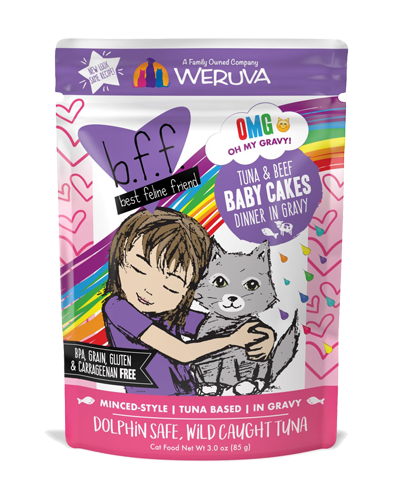 Picture of Weruva B.F.F. Grain Free Pouch Tuna and Beef Baby Cakes Recipe in Gravy - 3 oz.