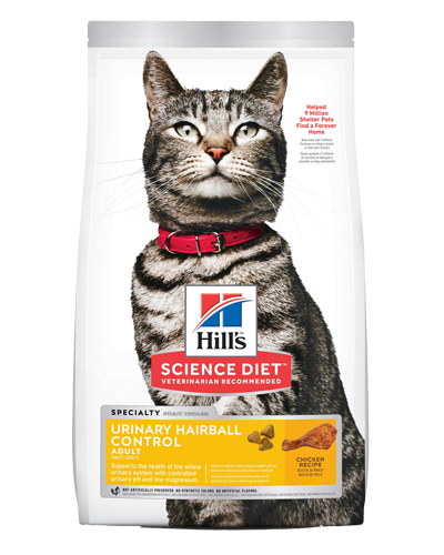 Picture of Hill's Science Diet Adult Urinary & Hairball Control Chicken Recipe Dry Cat Food - 7 lbs.