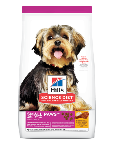 Picture of Hill's Science Diet Adult Small Paws Chicken Meal & Rice Recipe Dry Dog Food - 15.5 lbs.