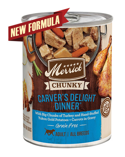Picture of Merrick Chunky Carver's Delight Dinner Grain Free Recipe with Chicken and Turkey - 12 oz.