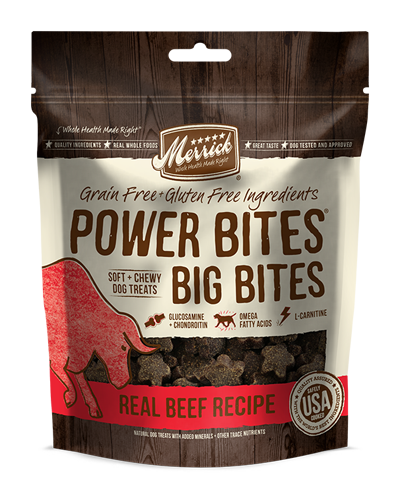 Picture of Merrick Power Big Bites Grain Free Real Beef Recipe Soft + Chewy Treats - 6 oz.