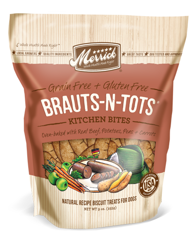 Picture of Merrick Kitchen Bites Grain Free Oven-Baked Brauts-n-Tots with Beef, Potatoes, Peas, and Carrots - 9 oz.