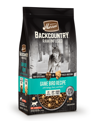 Picture of Merrick Backcountry Grain Free Raw Infused Game Bird Recipe with Turkey, Duck, and Quail - 4 lbs.