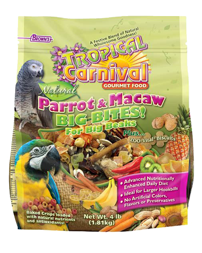 Picture of Brown's Tropical Carnival® Natural Parrot & Macaw Fortified Daily Diet with Big Bites - 4 lb.
