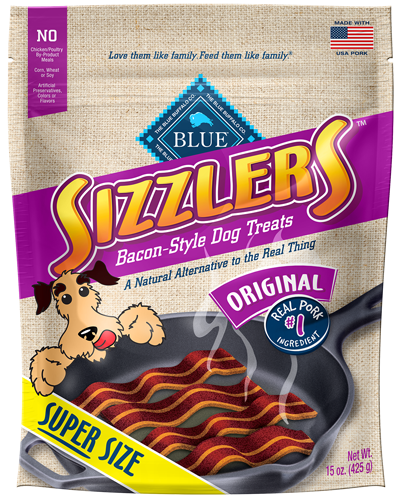 Picture of Blue Buffalo Sizzlers Natural, Bacon-Style Dog Pork Treats - 15 oz.