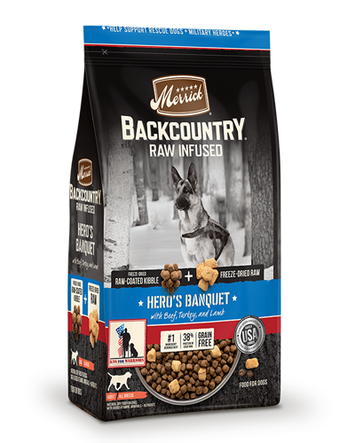 Picture of Merrick Backcountry Grain Free Raw Infused Hero's Banquet Formula with Beef, Turkey, and Lamb  - 22 lbs.