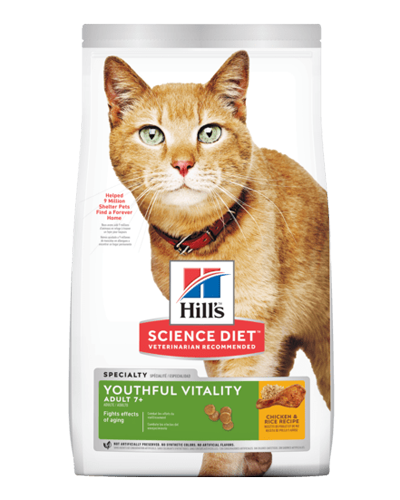 Picture of Hill's Science Diet Adult 7+ Youthful Vitality Chicken & Rice Recipe Dry Cat Food - 6 lbs.