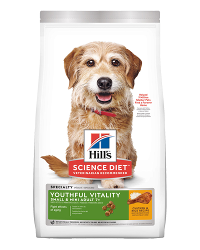 Picture of Hill's Science Diet Adult 7+ Youthful Vitality Small & Mini Chicken & Rice Recipe Dry Dog Food - 12.5 lbs.