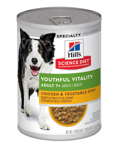 Picture of Hill's Science Diet Adult 7+ Youthful Vitality Chicken & Vegetable Stew Canned Dog Food - 12.5 oz.