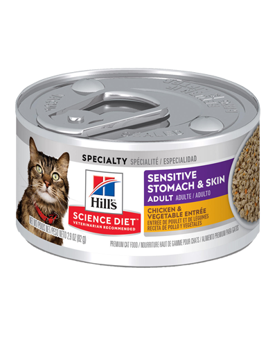 Picture of Hill's Science Diet Sensitive Stomach & Skin Chicken & Vegetable Entrée Canned Cat Food - 2.9 oz.