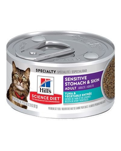 Picture of Hill's Science Diet Sensitive Stomach & Skin Tuna & Vegetable Entrée Canned Cat Food - 2.9 oz.