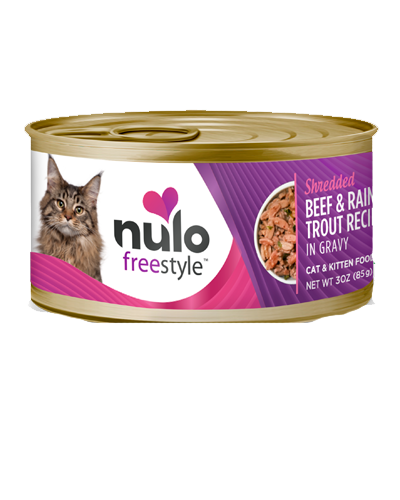 Picture of Nulo FreeStyle Cat and Kitten Grain Free Shredded Beef and Rainbow Trout Recipe in Gravy - 3 oz.