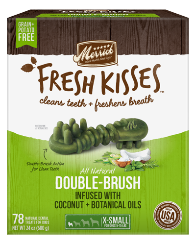 Picture of Merrick Fresh Kisses Grain Free Coconut Oil Infused with Botanicals for Extra Small Dogs - 78 Ct.