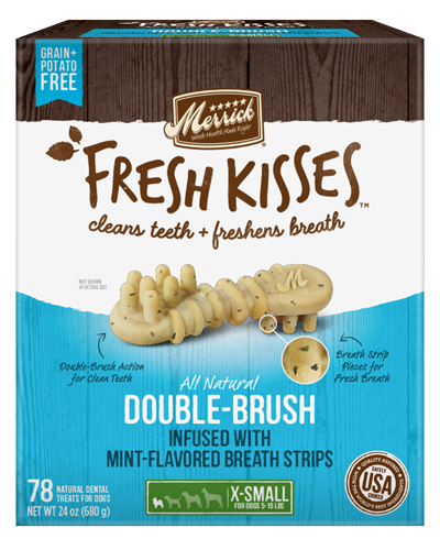 Picture of Merrick Fresh Kisses Grain Free Mint Breath Strips for Extra Small Dogs - 78 Ct.
