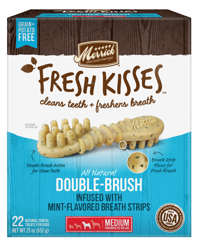 Picture of Merrick Fresh Kisses Grain Free Mint Breath Strips for Medium Dogs - 22 Ct.