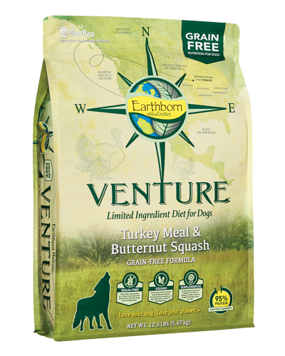 Picture of Earthborn Holistic Venture Grain Free Limited Ingredient Diet Turkey Meal and Butternut Squash Formula - 12.5 lb.