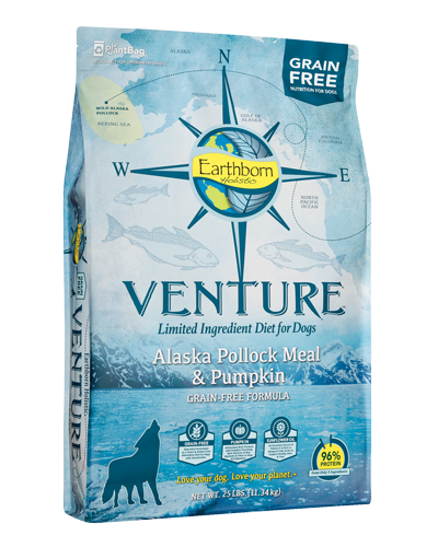 Picture of Earthborn Holistic Venture Grain Free Limited Ingredient Diet Alaska Pollock Meal and Pumpkin Formula - 25 lb.