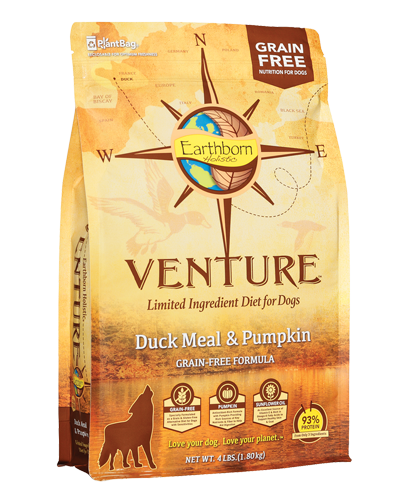Picture of Earthborn Holistic Venture Grain Free Limited Ingredient Diet Duck Meal and Pumpkin Formula - 4 lb.